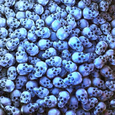 illuminated: Heap, pool of blue illuminated metal skulls Stock Photo