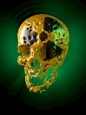 barrel bomb: Rotten, yellow lacquered skull with black radioactive sign, green glowing illumination Stock Photo