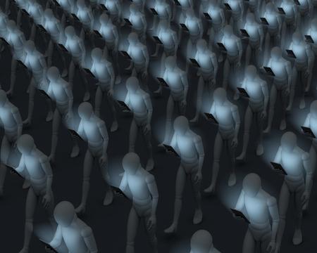 スマート フォンのユーザーが彼らのスマート フォン、3 d レンダリング、表示を閉じるを見つめながらラインで鈍いを歩いて、人々 のグループ