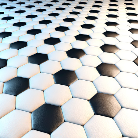 Soccer ball surface, 3d rendering, black and white leather