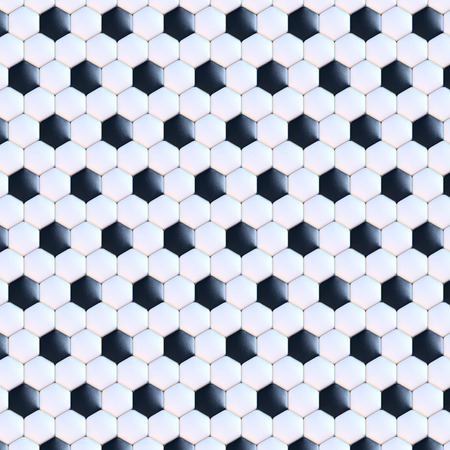 サッカー ボールの表面、3 d レンダリング、黒と白のレザー、タイル、正面ビュー