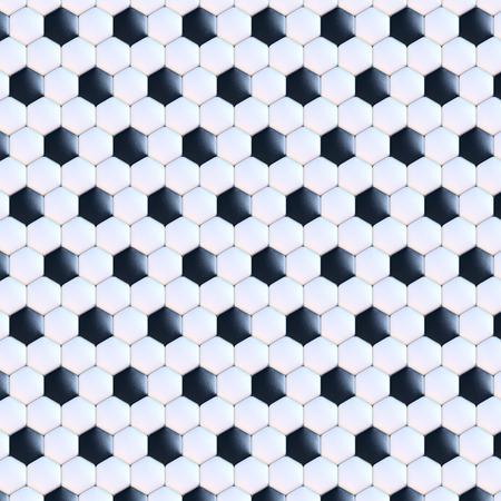 ballon foot: surface de la bille de football, rendu 3d, noir et blanc en cuir, carreler, vue frontale