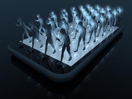 人々、彼らのデバイスは、3 d レンダリングを見つめながらスマート フォンの上に線が鈍い歩いてスマート フォン ユーザーのグループ