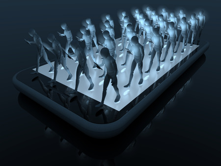 Group of people, smartphone users walking dull in line on top of a smartphone staring into their devices, 3d rendering