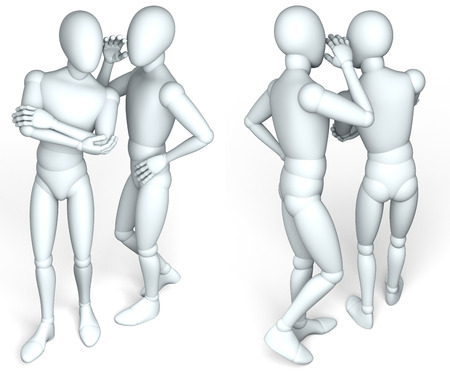 Two figures whispering, front, back, rendering, illustration  on white background