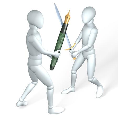 ペンと剣、コインから成っている図では、白のレンダリングとお互いの戦い 2 つの数字