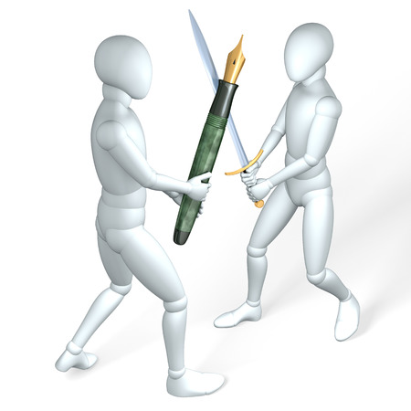 Two figures fighting each other with pen and sword, made up of coins, illustration, rendering  on white