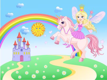 Castillo y Rainbow Pequeña Hada y Unicornio Foto de archivo - 31975282