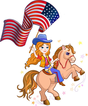 Blond cowgirl with USA Flag Vector