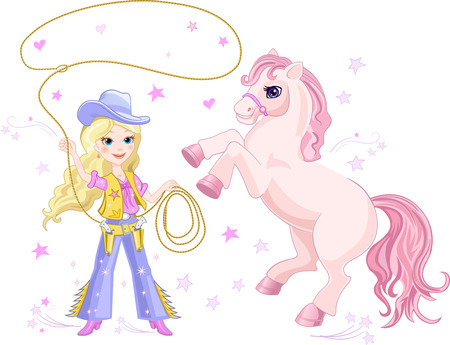 cowgirl: Cowgirl Lasso and Pony Illustration