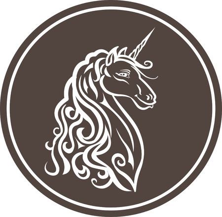 Isolated Unicorn Head illustration 矢量图像