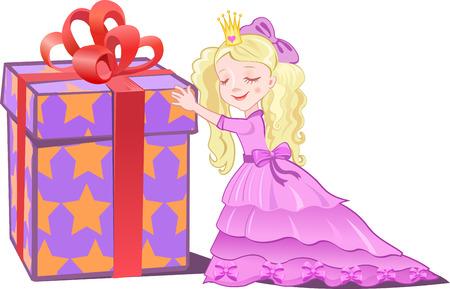 princess and gift Vector