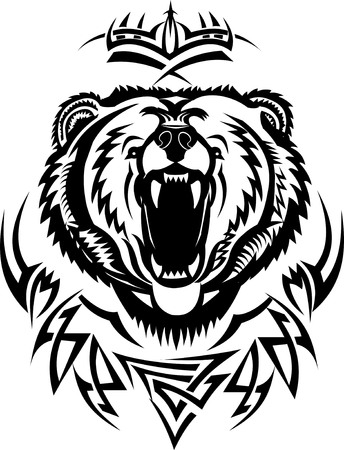 zoological: tattoo grizzly Illustration