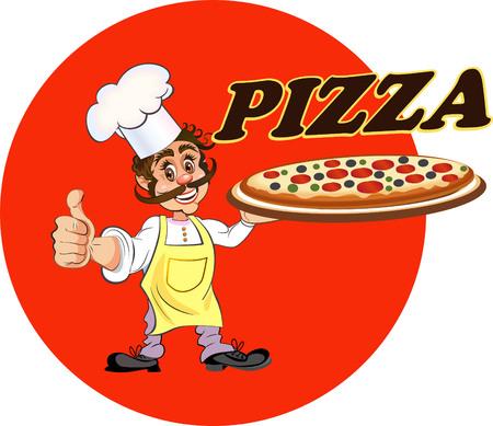 mature men: Cook Pizza Illustration