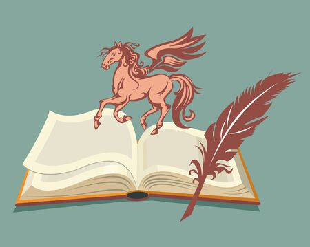 literature: Pegasus of literature illustration