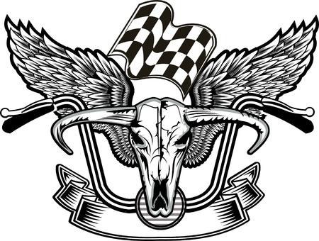 Bull head with wings of biker