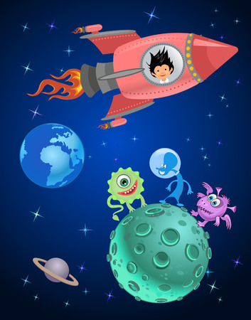 explore: Astronaut kids on the rocket in space expedition.