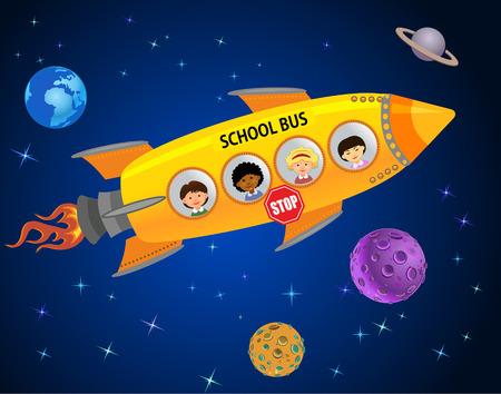 Space School Bus  イラスト・ベクター素材