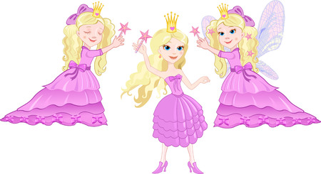 fairy wings: Cute girl in a purple dress with fairy wings Illustration