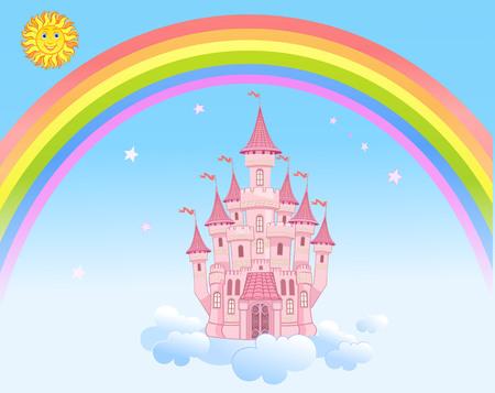 arco iris: Sun del arco iris y el castillo de Aire Vectores
