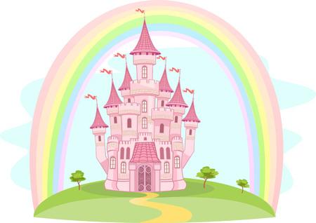 Rainbow and Air Castle  イラスト・ベクター素材