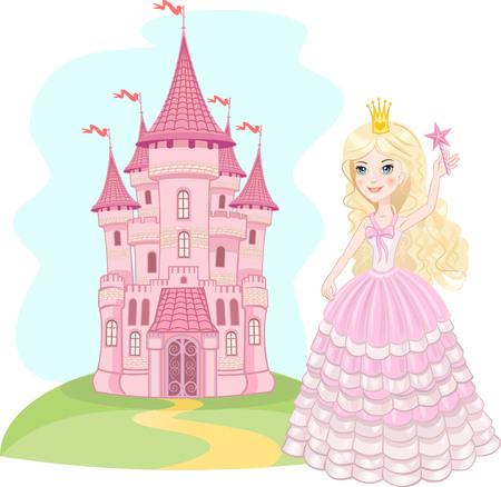 castillos de princesas: Castillo de cuento. Aire castillo y la princesa Vectores