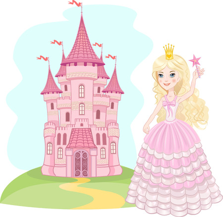 castle cartoon: FairyTale castle. Air-Castle and princess