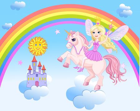 Het Kasteel van hemel en Rainbow Weinig Fee en Eenhoorn