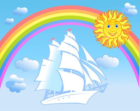 reverberation: Sailing ship in Sky Illustration