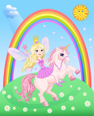 period costume: Little Fairy and Unicorn with Rainbow