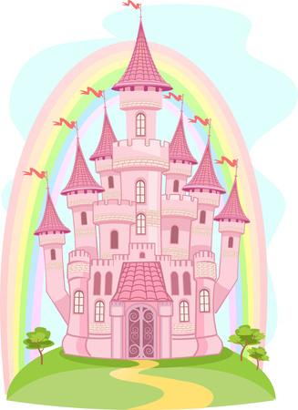 fairytale castle: FairyTale castle and Rainbow