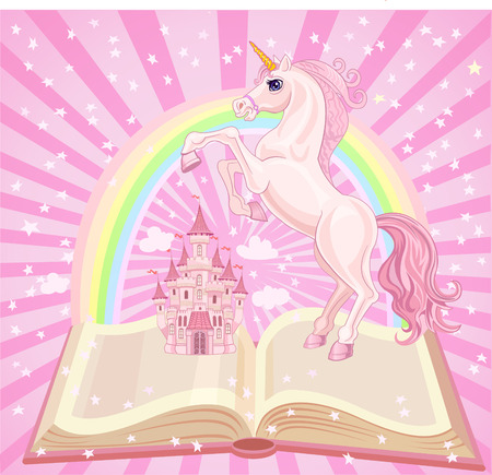 castle tower: FairyTale castle. Air-Castle and Unicorn