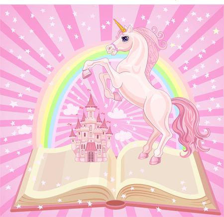 FairyTale castle. Air-Castle and Unicorn