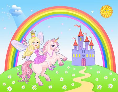 Castel and Rainbow Fairy and Unicorn