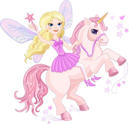 elote caricatura: Peque�a hada y unicornio