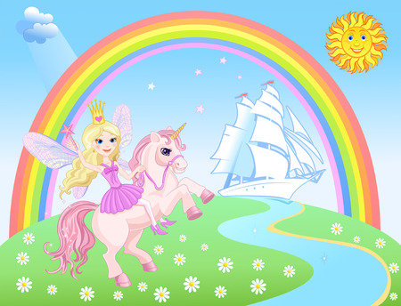 period costume: Unicorn with Fairy Princess and sailing ship