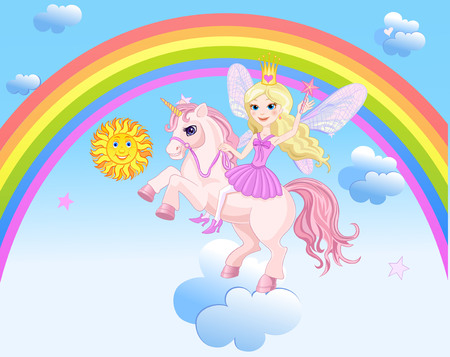 Sun Rainbow Unicorn and Fairy Illustration