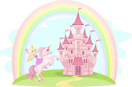 城と虹小さな妖精とユニコーン 写真素材 - 49651097