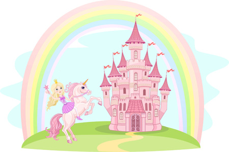 princess castle: Castle and Rainbow Little Fairy and Unicorn