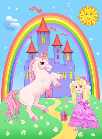 Castle and Rainbow Little Fairy and Unicorn
