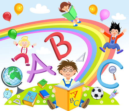 colorful slide: Kids Playing with Letters. Pupils of elementary school Illustration