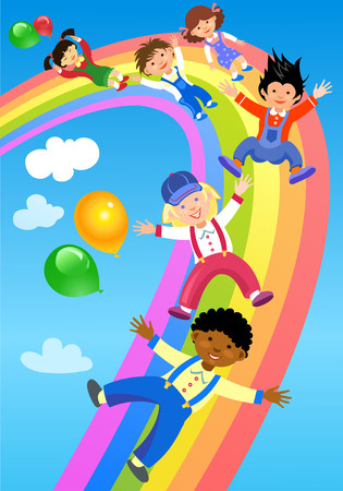 thrilling: Children ride on the rainbow Illustration