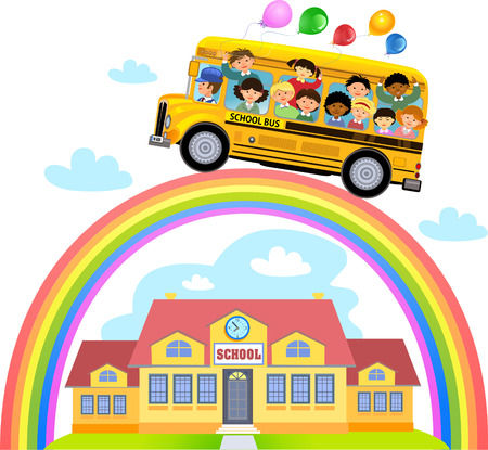 transporte escolar: Caricatura de la escuela los ni�os felices y arco iris