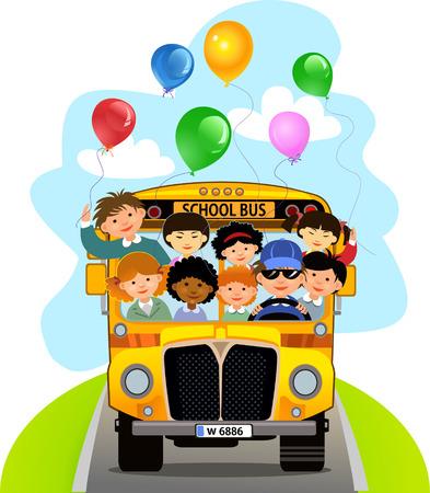 cartoon school girl: Cartoon School Kids Riding a School Bus Illustration
