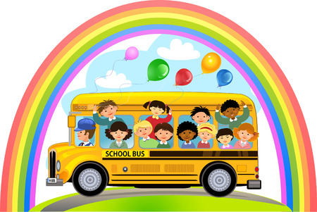cartoon bus: Cartoon School Kids Riding a School Bus Illustration