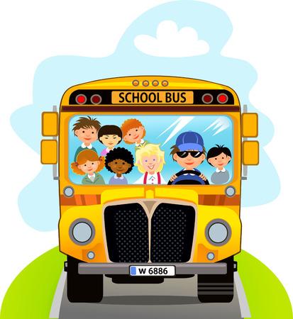 Cartoon School Kids Riding een School Bus