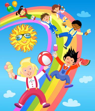 rainbow slide: Children ride on the rainbow with ice cream