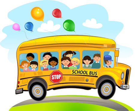 Cartoon School Kids Riding a School Bus Çizim