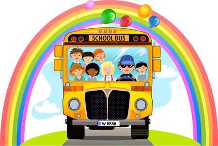 Cartoon School Kids Riding a School Bus Vettoriali