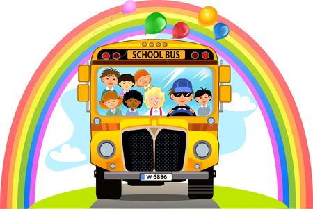 Cartoon School Kids Riding a School Bus Иллюстрация